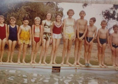 Local children playing in the McDowell's swimming pool at 'Talbots'