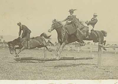 The children of Jacky and Barbara White steeplechasing around the paddocks at Fulham Farm, Adelaide
