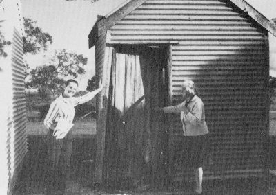 The Avenue Range post office and telephone exchange build by settlers, with Mary Smith and Hilda Thomson