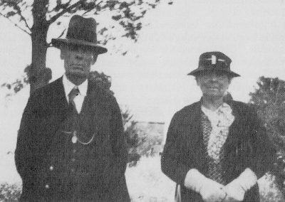 Mr SE (Ted) Tavender, the first Avenue School pupil standing with Mrs Norsworthy (nee EM Flint), the first teacher at teh school, taken in 1936