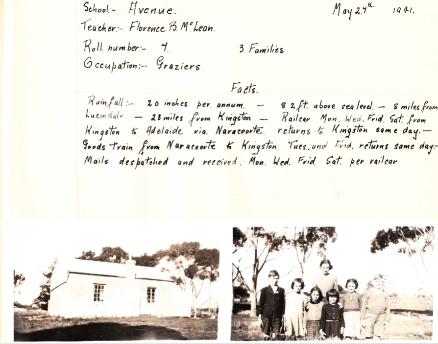 n 1941 the school inspector in the South East invited schools to contribute two pages about their school. This is 2 of 2 pages from the Avenue school's contribution. Image supplied courtesy of Marion Hextall in 2020.