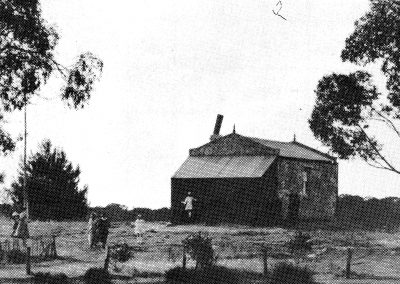 venue Range school and church. Photo taken the day of Mrs P.W. Dow's wedding in February 1921. Built by J Hensley in 1901. Photo supplied by Maggie Paltridge